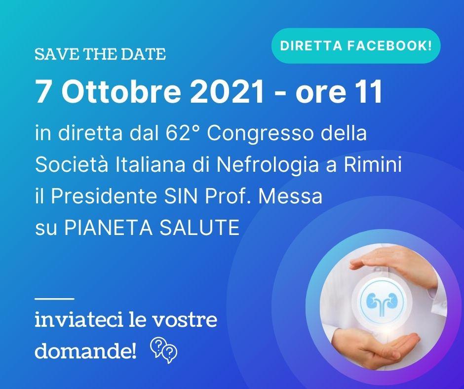 In diretta dal 62° Congresso della Società Italiana di Nefrologia il 7 Ottobre 2021 alle ore 11